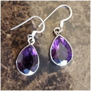 "14ct Total...Amethyst Drop Earrings 1.20"" long"